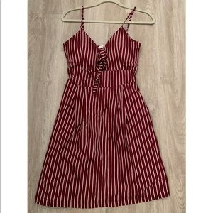 Striped maroon dress. Never been worn. New